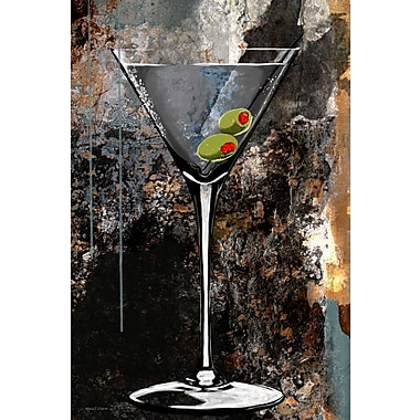 Maxwell Dickson ''Martini Glass'' Graphic Art on Canvas; 24'' H x 36'' W