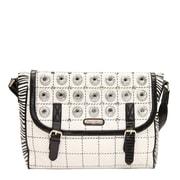 Nicole Lee Minerva Zebra Quilted Embellished Messenger Bag; White
