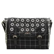 Nicole Lee Minerva Zebra Quilted Embellished Messenger Bag; Black