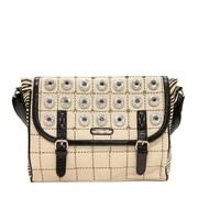 Nicole Lee Minerva Zebra Quilted Embellished Messenger Bag; Natural