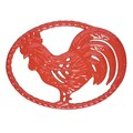 Chasseur Cast Iron Rooster Trivet; Flame Red