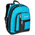 Everest Double Main Compartment Backpack; Turquoise / Black