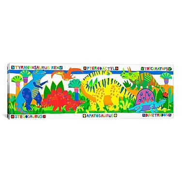 iCanvas Kids Children 'Dinosaurs' Graphic Canvas Wall Art; 12'' H x 36'' W x 1.5'' D