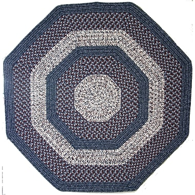 Thorndike Mills Town Crier Blue w/ Red Indoor/Outdoor Rug; Octagon 4'