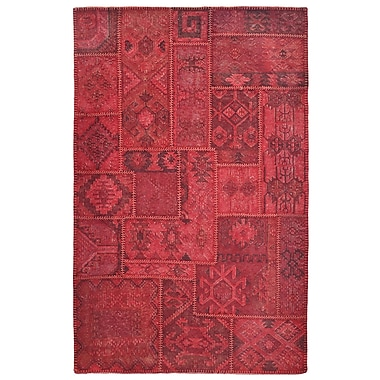Kosas Home Lavaggio Crimson Patchwork Area Rug; 5' x 8'