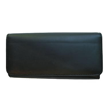 Club Rochelier Leather Clutch Wallet With Checkbook & Gusset, Black
