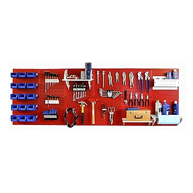 Wall Control 8' Metal Pegboard Master Workbench Red Tool Board and Accessories Kit