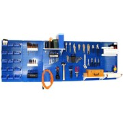Wall Control 8' Metal Pegboard Master Workbench Kit, Blue Tool Board and Blue Accessories