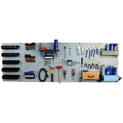Wall Control 8' Metal Pegboard Master Workbench Kit, Black Tool Board and Black Accessories