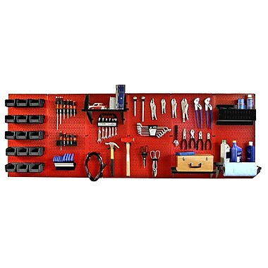 Wall Control 8' Metal Pegboard Master Workbench Kit, Black Tool Board and Red Accessories