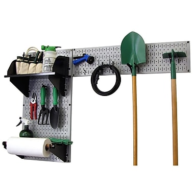 Wall Control Garden Tool Storage Organizer Pegboard Kit, Gray Tool Board and Black Accessories