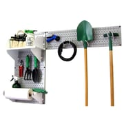 Wall Control Garden Tool Storage Organizer Pegboard Kit, Gray Tool Board and White Accessories