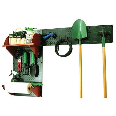 Wall Control Garden Tool Storage Organizer Pegboard Kit, Green Tool Board and Red Accessories