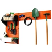 Wall Control Garden Tool Storage Organizer Pegboard Kit, Orange Tool Board and Black Accessories