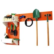 Wall Control Garden Tool Storage Organizer Pegboard Kit, Orange Tool Board and White Accessories