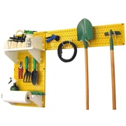 Wall Control Garden Tool Storage Organizer Pegboard Kit, Yellow Tool Board and White Accessories