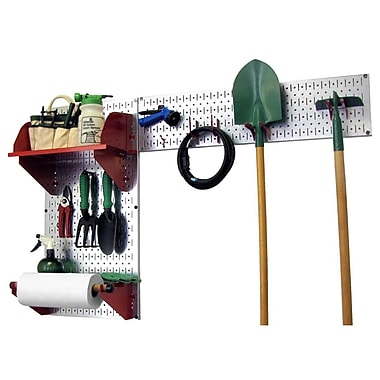 Wall Control Garden Tool Storage Organizer Pegboard Kit, Galvanized Tool Board and Red Accessories