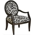 Powell® Zebra Graint Fabric Oval Back Accent Chair, Black/Desert Sand