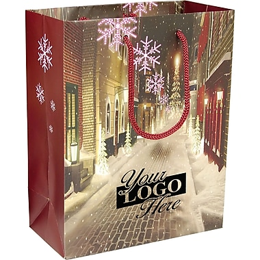 Christmas Village Laminated Paper Bag, 8