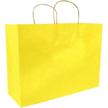 Colour Paper Shopper, Yellow Pinstripe, Fashion, 250/case