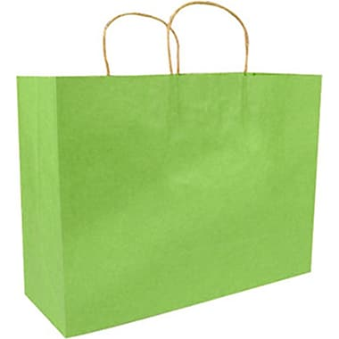 Colour Paper Shopper, Bright Green Pinstripe, Fashion, 250/case