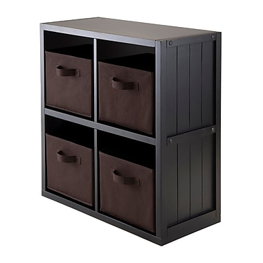 Winsome Timothy 5-Piece Wainscotting Panel Shelf with 4 Fabric Baskets, 2 x 2 Cube, Chocolate
