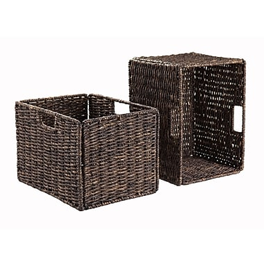 Winsome Granville Corn Husk Foldable Tall Baskets, 2/Pack