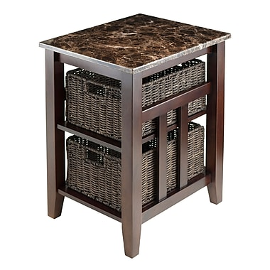 Winsome – Table d'appoint Zoey avec dessus en faux marbre et 2 paniers