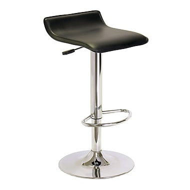 Winsome Single Airlift Swivel Stool with Black Faux Leather Seat