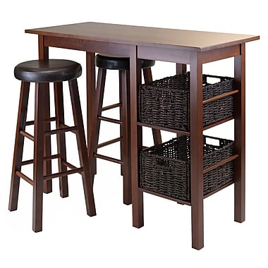 Winsome Egan 5-Piece Breakfast Table with 2 Baskets and 2 Swivel Seat PVC Stools