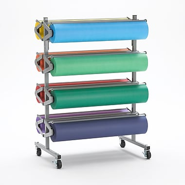 Bulman® Mobile Paper Holder With Casters, 36'', 8 Roll Paper Dispenser