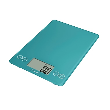 Escali Arti Glass Digital Scale, 15 Lb 7 Kg, Peacock Blue