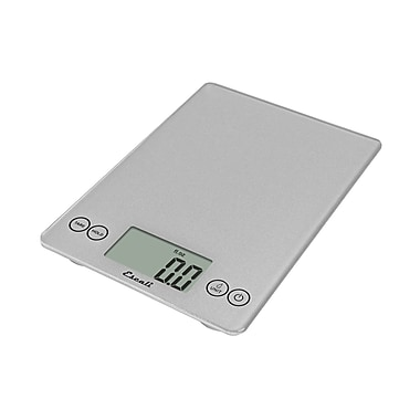 Escali Arti Glass Digital Scale, 15 Lb 7 Kg, Shiny Silver