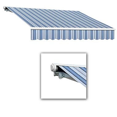 Awntech® Galveston® Left Motor Retractable Awning, 8' x 7', Bright Blue/Gray/White