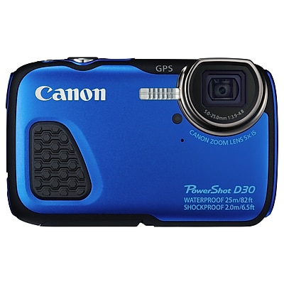 Canon PowerShot D30 12.1MP 5x Optical Zoom Compact Digital Camera, Blue