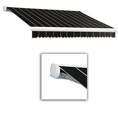 Awntech® Key West Full-Cassette Right Motor Retractable Awning, 12' x 10', Black Pinstripe