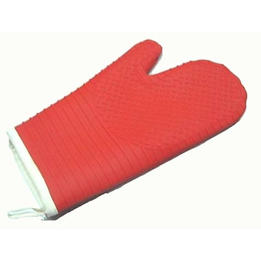 Marathon Management Silicone Oven Mitt with Quilted Lining, Red