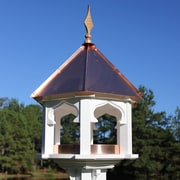 Heartwood Carousel Cafe Gazebo Hopper Bird Feeder; Verdigris Copper Roof