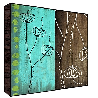 Green Leaf Art Blue and Brown II Painting Print Plaque; 12'' H x 12'' W x 1.5'' D