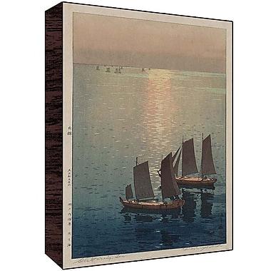 Green Leaf Art Boats on River Painting Print; 18'' H x 12'' W x 1.5'' D