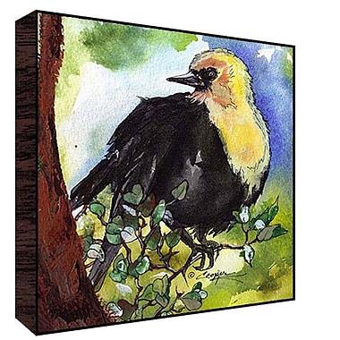 Green Leaf Art Headed Bird Painting Print; 12'' H x 12'' W x 1.5'' D