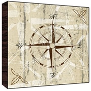 Green Leaf Art Compass I Wall Art; 12'' H x 12'' W x 1.5'' D