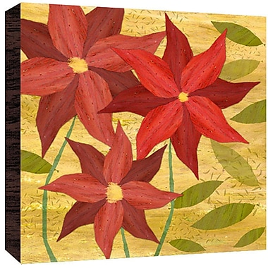Green Leaf Art Red on Yellow I Painting Print