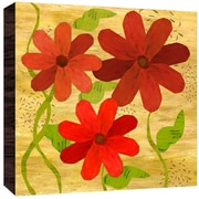 Green Leaf Art Red on Yellow II Painting Print Plaque