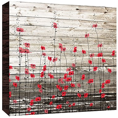Green Leaf Art Little Flowers Painting Print in Red; 24'' H x 24'' W x 1.5'' D