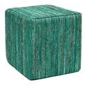 Anji Mountain Saree Pouf Ottoman; Green