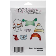 "C.C. Designs 4 3/4"" x 4 1/2"" Meoples Cling Stamp, Dress Up Snowman"
