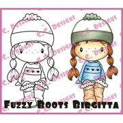 "C.C. Designs 3"" x 1 3/4"" Swiss Pixie Cling Stamp, Fuzzy Boot Birgitta"