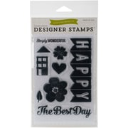 Echo Park Paper 5 3/4 x 4 Clear Stamp Set, Happy Family