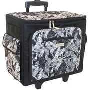 Everything Mary® 19 x 9 x 17 Sewing Machine Rolling Tote, Black/White